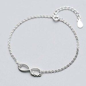 BENGKUI Bracelet en Argent Femme 925,Anklets Fashion Women Fine Jewelry Infinite Love Gift for Girls Lady Charm Bracelets for Women Birthday Gifts for Mum Wife