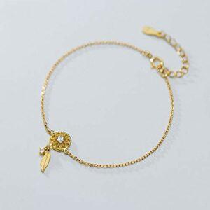 BENGKUI Bracelet en Argent Femme 925,Fashion Charms Hollow Leaves Bracelet for Women Silver 925 Silver Wedding Jewelry Charm Bracelets for Women Birthday Gifts for Mum Wife