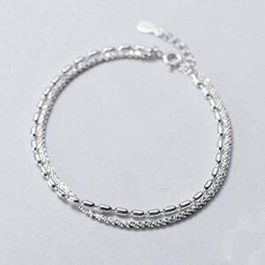 BENGKUI Bracelet en Argent Femme 925,Minimaliste Double Layer Babys Souffle Bracelets Chaîne Perles pour Les Femmes Bijoux De Mariage pour Les Femmes Cadeaux D'Anniversaire pour Maman Femme