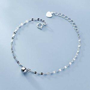 BENGKUI Bracelet en Argent Femme 925,Minimaliste Fashion Sweet 5Mm Bead Bracelet for Women Wedding Party Fine Jewelry Charm Bracelets for Women Birthday Gifts for Mum Wife