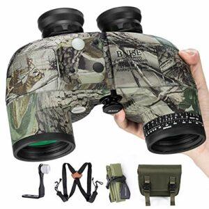 BNISE 10×50 Jumelles Adultes Puissante pour l'Observation des Oiseaux, la Chasse, Boussole Intégrée et Télémètre avec Sangle de Harnais, Télescope de Haute Imperméable de Camouflage