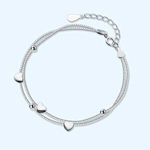 Bracelet En Argent Femme 925,Bracelet Double Couche De Perles De Coeur De Chaîne Pour Des Femmes Sterling Argent Wedding'S Day Charm Bracelets Pour Les Cadeaux D'Anniversaire Des Femmes Pour Maman