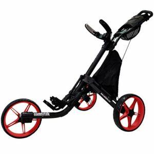 CaddyTek EZ Tour Quickfold Deluxe Chariot de golf 3 roues pliable complet avec sac isotherme – Modèle 2020 – Qualité allemande (Noir/rouge)