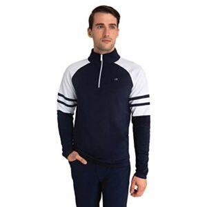 Calvin Klein Hommes Strata Flex 1/2 Zip léger isolé Pull – Marine/Blanc – L