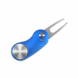 Crestgolf Golf Divot Tool avec Bouton Pop-up et Marqueur de Balle Magnétique Pitch Mark Mini-Outil Portable et Pliable Léger(blue3)