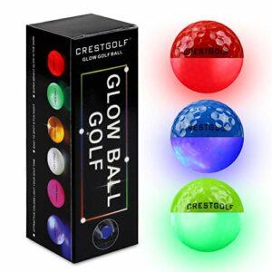 Crestgolf LED Glow Balles De Golf pour Nuit Intégrée 4 Lumières LED Balles De Golf Très Lumineuses et Parfaites pour Le Golf Longue Distance-3 pièces