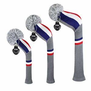 EDWARD & CO. Lot de 3 housses de tête de golf tricotées pour bois et driver (460CC) et parcours hybride/UT. avec étiquettes numérotées rotatives (Fr Stripes)