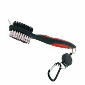 ExeQianming Brosse de club de golf double face en nylon et acier avec clip de fixation (rouge)