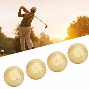 Gancon Balle de Golf dorée, Balle de Golf plaquée Or à Double Couche de Haute qualité, 4 pièces