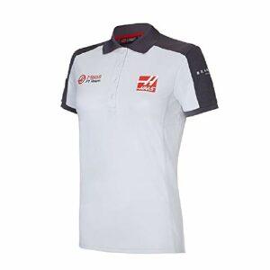 Haas F1 Team Polo pour femme Blanc & Gris XS