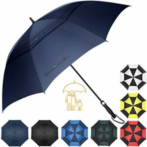 Heasy Golf Umbrella Windproof Large 62 Inch Automatic Open Double Canopy Vented Extra Large Stick Umbrellas for Men and Women (Navy Blue)