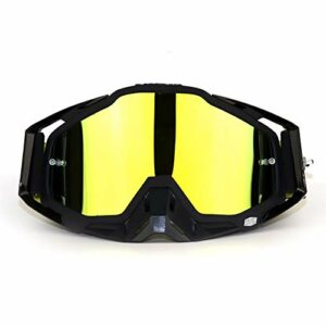 HGFDSA Lunettes De Cross-Country Lunettes D'équitation en Plein Air Lunettes De Casque De Moto Lunettes De Protection Anti-poussière pour Adultes,Black Frame Yellow Mirror