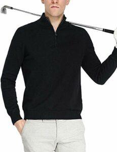 Homme Golf Pulls 1/4 Zip Coton Manche Longue Sweatshirts Noir L
