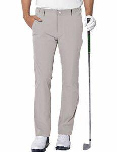 Homme Imperméable Pantalon de Golf Extensible Léger Sports Golf Pants avec 4 Poches Beige L