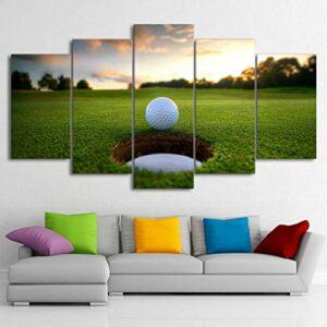 Image 5 piècess Golf Ball Course Loisirs Sport Maison Mur artparties Tableau decorationà Domicile décoration-with Frame-110x60Cm