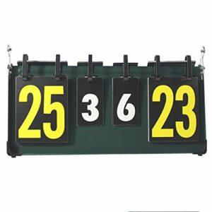 KIKIRon Tableau D'affichage Portable Flip Tableau de Bord des résultats Sportifs à 4 Chiffres Tableau de Bord, for Tennis de Table, Basket-Ball, Badminton, Vert (Couleur : Vert, Taille : 41 x 22.5cm)