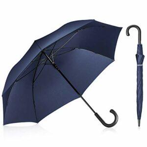 Leebotree Stick Parapluie, Auto Open coupe-vent Parapluie 129,5cm Grande Verrière étanche J Poignée Homme Femme, bleu