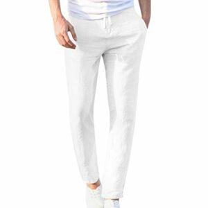 LINSINCH Pantalons Hommes Jogging Grande Taille Cargo Mode Casual Travail Coton Mélange Pur Élastique Pantalon Long Pantalon Kaki Lin Slim Taille Elastique Blanc Bermudas