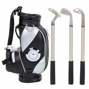 Mini sac de golf de bureau en alliage de zinc avec horloge en cuir PU avec stylo de golf ensemble de souvenirs cadeau(Noir et argent)