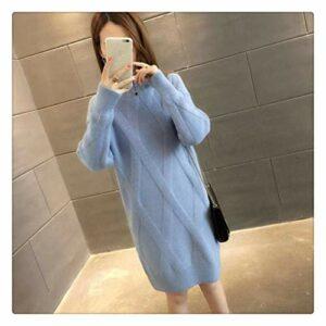 MISSLIU Pull à manches longues en tricot pour femme Automne Hiver Couleur : Bleu Taille : XXL