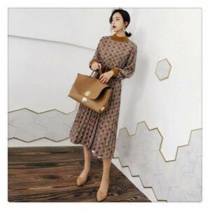MISSLIU Robe d'automne vintage pour femme avec manches lanternes à carreaux pour femme (couleur : kaki, taille : S)