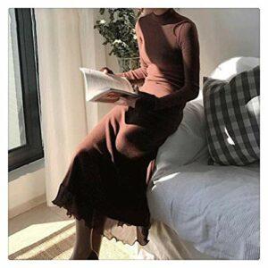 MISSLIU Robe longue vintage à col roulé pour femme – En tricot – Automne hiver – Élégant patchwork – Taille fine – Couleur : café – Taille L