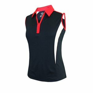 Monterey Club Ladies' Dry Swing Double Colorblock Zip-up Sleeveless Shirt #2271 (Navy/Red/White, Small)