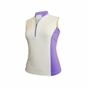 Monterey Club Ladies Dry Swing Sleeveless Colorblock Shirt #2291 (White/True Violet, Medium)