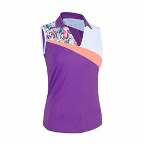 Monterey Club Ladies Dry Swing Water Fountain Contrast Coloblock Sleeveless Shirt #2345 (Royal Lilac/White, Medium)
