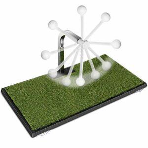MSOAT Golf Swing Trainer/Entraîneur de Swing de Golf/PuttGing Mat Green avec Coussinet épaissi, Retour Automatique de la Balle à 360 °, Utilisation générale intérieure et extérieure.