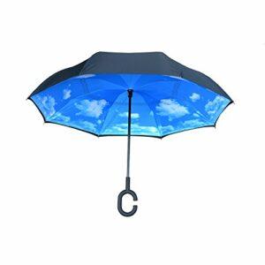 Nufoot Noir/Sky incliné inversé Parapluie, réversible Parapluie, Parapluie de Voiture, à l'envers l'envers Parapluie, Noir/Ciel
