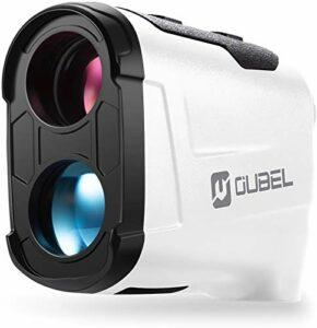OUBEL Télémètre de Golf/Télémètre de Chasse, Télémètre Laser de 800 Mètres avec Fonction de Calcul de la Pente, Verrouillage du mât de Drapeau, Vibration, Fonction de Mesure Continue (Blanc)