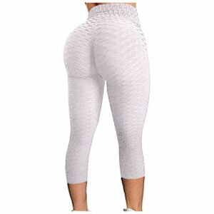 Pantalon en Jacquard pour Femme Pantalon à Bulles Pantalon de Fitness Sportif Pantalon de Yoga Taille Haute