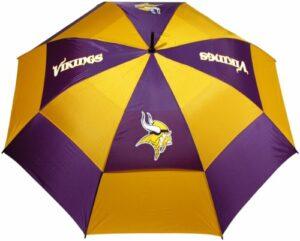 Parapluie de golf Team Golf NFL 157,5 cm avec gaine de protection, double auvent de protection contre le vent, bouton d'ouverture automatique, Minnesota Vikings