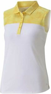 PUMA Polo sans Manches pour Femme Golf 2020 Tie Dye Blocked, Femme, Polo, 597689, Super Citron, XL