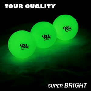 R&L Glow Golf Balls for Night Sports – Tournament Fluorescent Glowing in The Dark Golf Ball – Long Lasting Bright Luminous Balls Rechargeable with UV Flashlight – Included (3 Pack)