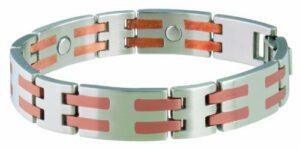 Sabona Inoxydable/Barre de cuivre Bracelet magnétique, Silver/Copper