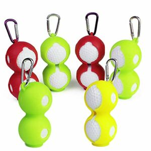 Sac de Balle de Golf Protable Golf Ball Holder Balles de Golf Tees Sacs Pochette avec Mousqueton Pratique pour Accrocher au Sac de Golf ou à la Ceinture Peut Contenir 4 Balles de Golf Jaune et Vert