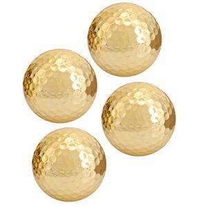 Semiter Balle de Golf plaquée Or, Balle de Golf Portable à Double Couche, Balle de Golf plaquée portative de Haute qualité 4 pièces, pour la Pratique du Golf