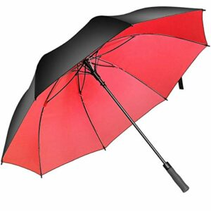 Superbison Parapluie Golf Ouvert Extra Très Grand Surdimensionné Fort Parapluies Imperméables Imperméables (Circonférence 155cm / Diamètre 132cm, Noir/Rouge)