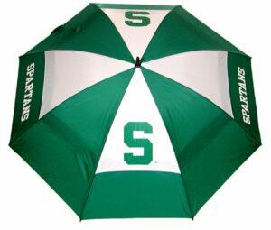 Team Golf NCAA Michigan State Spartans Parapluie de golf avec fourreau de protection, double auvent, protection contre le vent, bouton d'ouverture automatique 157,5 cm