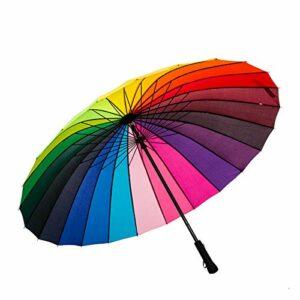 ThreeH Doublé Canne Anti Vent Parapluie Golf Ouverture 24 côtes Voyage Parapluie Grande Taille KS07,Rainbow