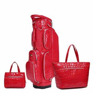 TnSok 3 pcs Golf Cart Sac de Golf Sac sur Pied PU Lightweight Golf Carry Organisateur Voyage Sac golfeuses de Femmes Sacs à Main Sac de Queue Portable (Color : Red, Size : 39x23x129cn)