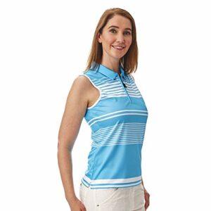 Under Par Polo de Golf sans Manches et Manches de qualité Professionnelle pour Femme 5 Styles 10 Couleurs S Style 1676 – Bleu été/Blanc.