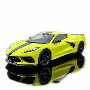 Voiture de marque modèle 1:24 pour 1970 Corvette miniature de voiture en alliage (couleur : jaune)