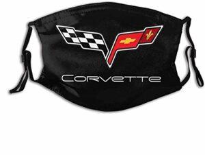 VOROY M-a-sk-s Cache-cou réutilisable avec sangle réglable et poche filtrante Logo Corvette avec deux filtres remplaçables Fabriqué aux États-Unis