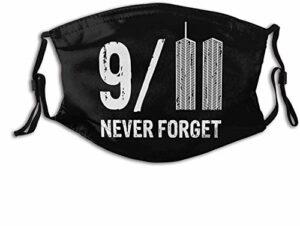 VOROY M-a-sk-s Cache-cou réutilisable avec sangle réglable et poche pour filtre 9–11 Never Forget – NYC Twin Towers avec deux filtres remplaçables Fabriqué aux États-Unis
