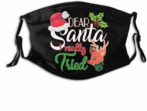 VOROY M-a-sk-s Cache-cou réutilisable avec sangle réglable et poche pour filtre Motif Père Noël