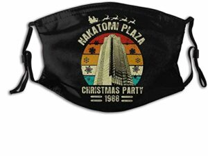 VOROY M-a-sk-s M-a-sk-s Cache-cou réutilisable avec sangle réglable et poche pour filtre Nakatomi Plaza Christmas Party 1988 avec deux filtres remplaçables Fabriqué aux États-Unis