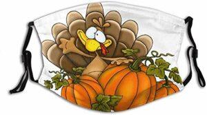 VOROY M-a-sk-ss Cagoule cache-cou pour adulte Motif Happy Turkey Day Respirant et lavable avec filtres Jaune